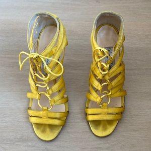 Bionda Castana Yellow Silk Heels Sandals